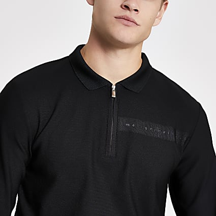 Maison Riviera black half zip slim fit polo