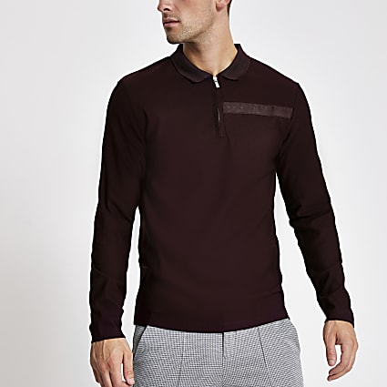 Purple Maison Riveria tape knitted polo shirt