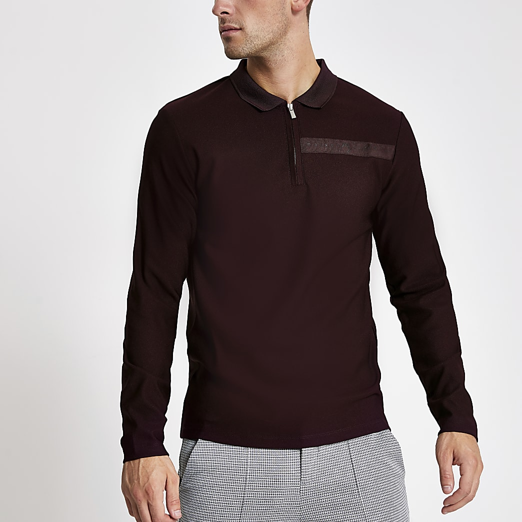 Maison Riveria purple tape knitted polo shirt