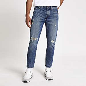 Jimmy – Dunkelblaue Tapered-Jeans im Used-Look
