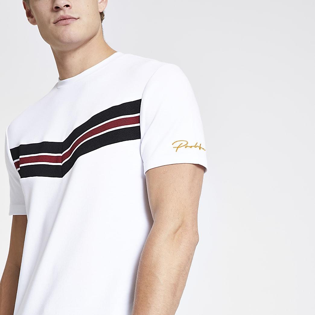 Prolific white colour block slim fit T-shirt