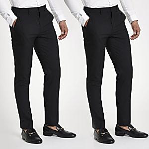Schwarze, elastische Hose im Slim Fit, 2er-Pack