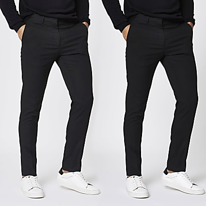 Black stretch skinny smart trousers 2 pack