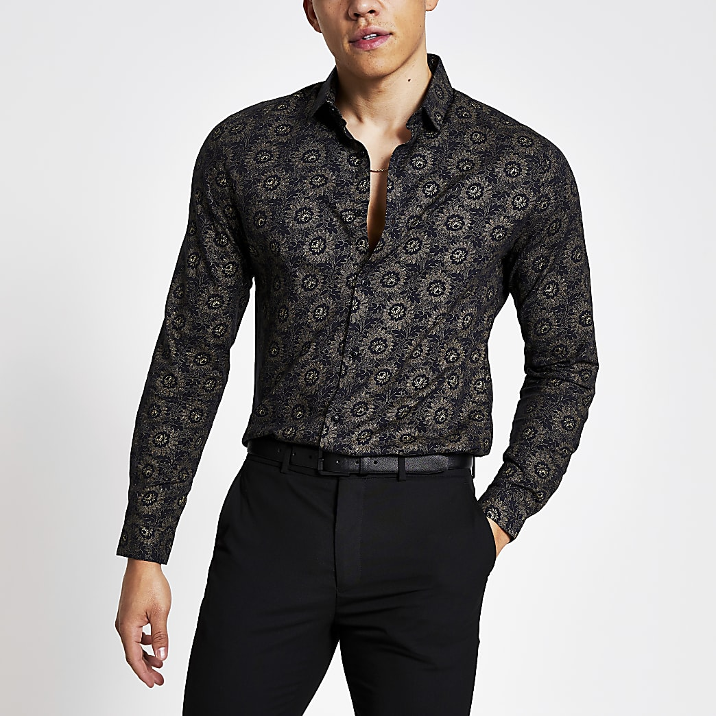 Black gold floral print slim fit shirt