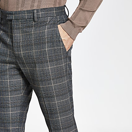 Dark grey check slim fit trousers