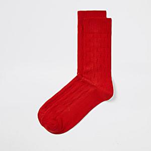 Chaussettes rouges à motif jacquard et pois