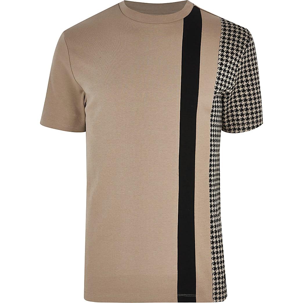 Big and Tall brown check blocked T-shirt