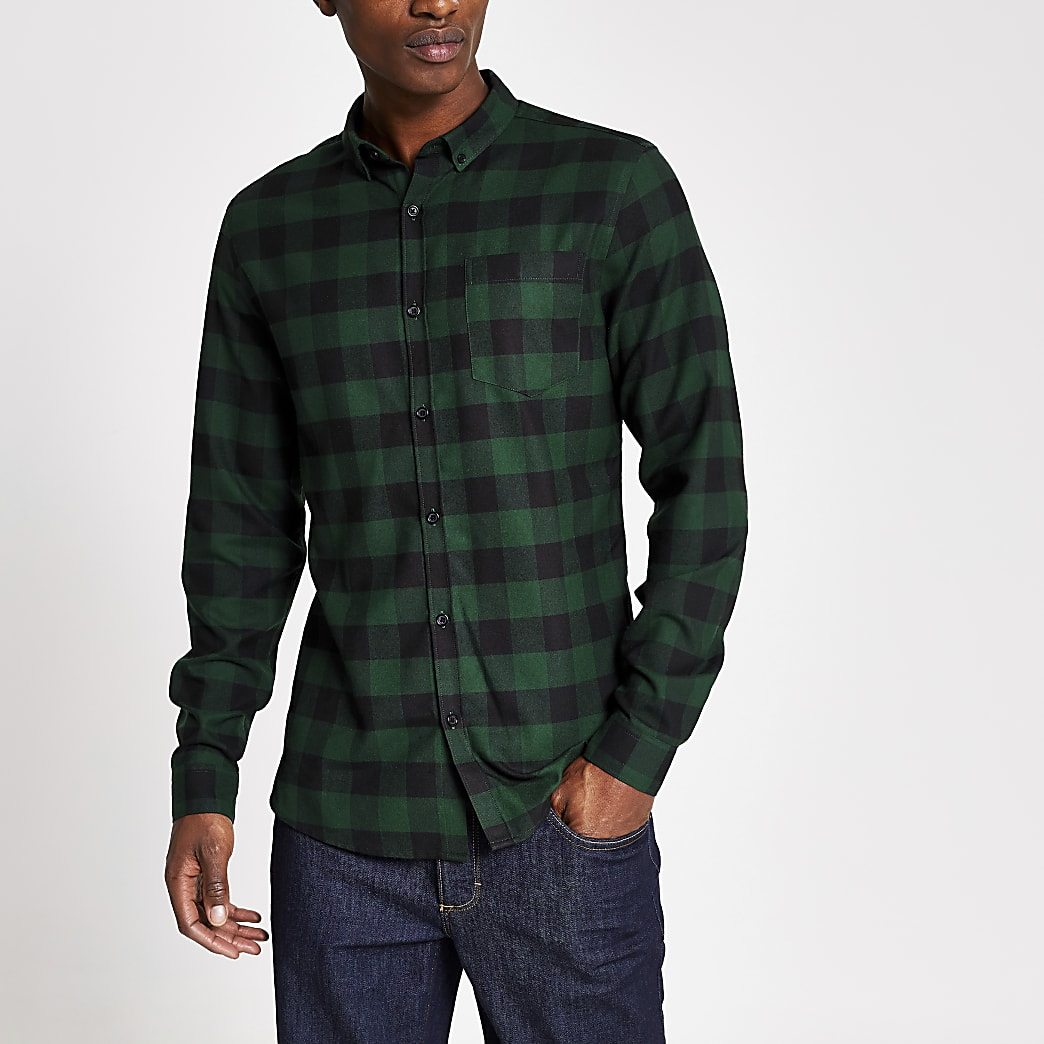 Green check slim fit check shirt