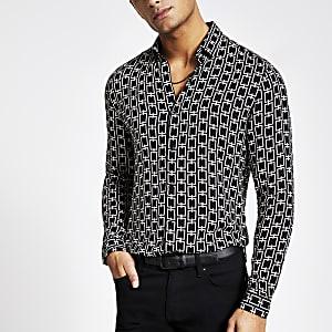 Zwart slim-fit overhemd met kettingprint