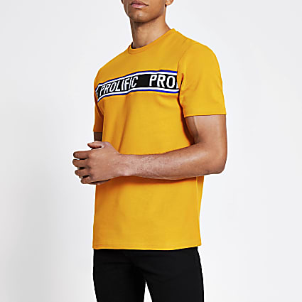 Prolific tape print yellow slim fit T-shirt