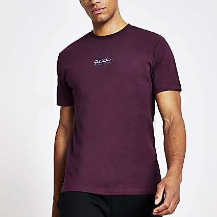 Prolific purple slim fit embroidered T-shirt