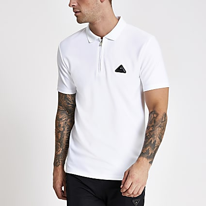 MCMLX White slim fit zip polo shirt
