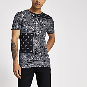 Smart Western - Zwart muscle fit T-shirt met print