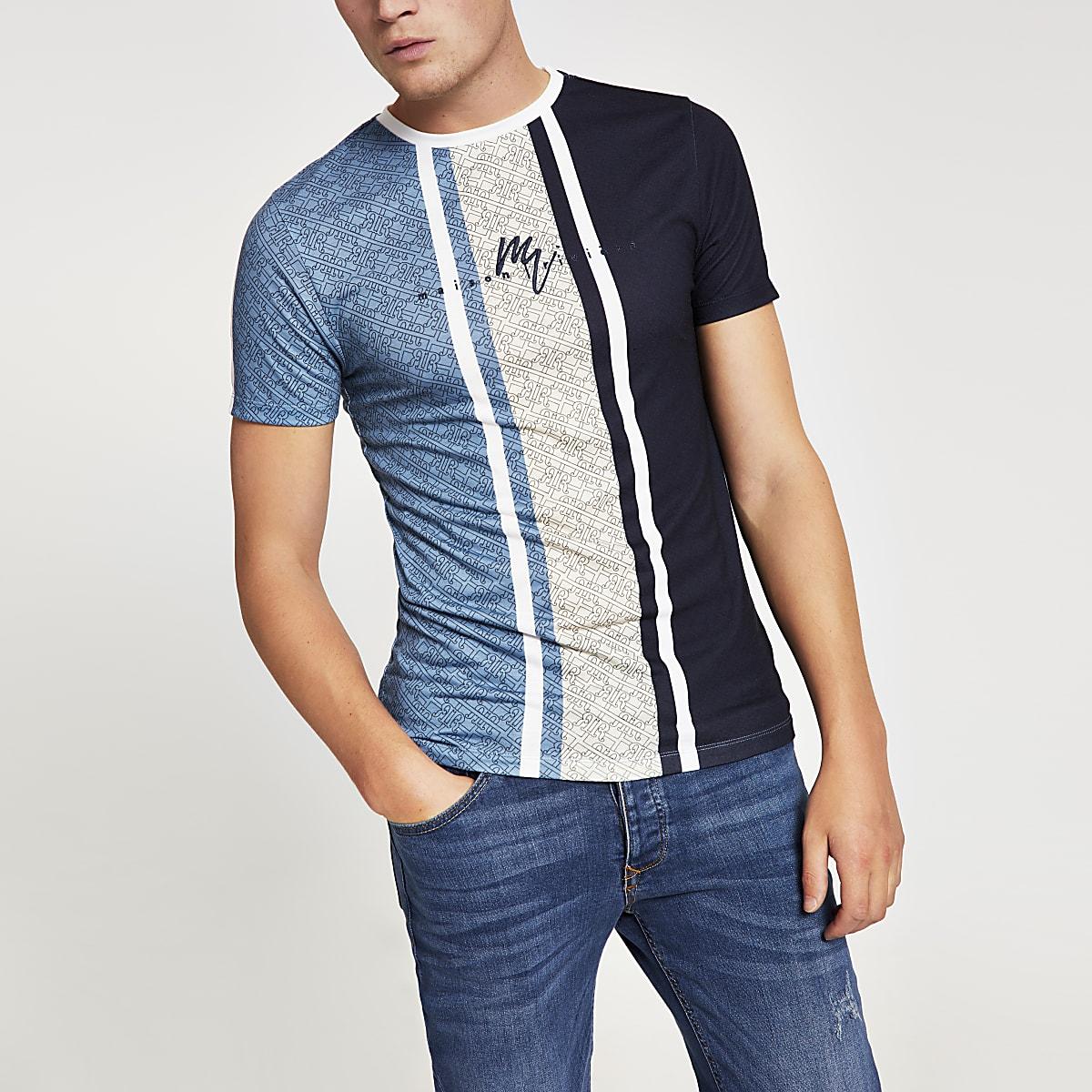 T-shirt ajusté Maison RIviera bleuà rayures