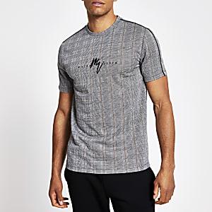 Maison Riviera – Graues, kariertes T-Shirt im Muscle Fit