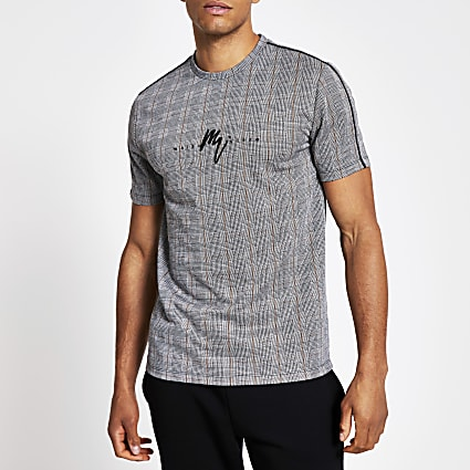 Grey Maison Riviera muscle fit check T-shirt