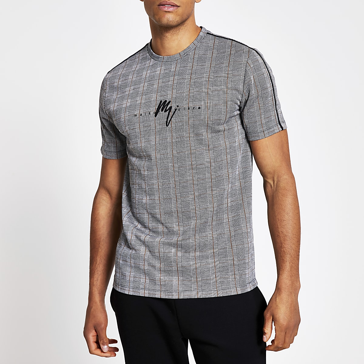 Maison Riviera grey muscle fit check T-shirt