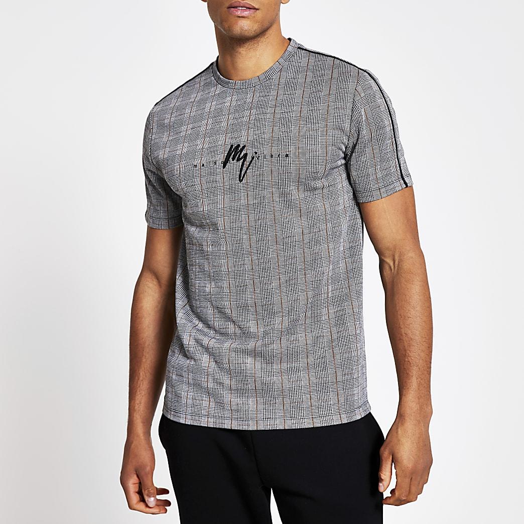 Maison Riviera – T-shirtajusté grisà carreaux