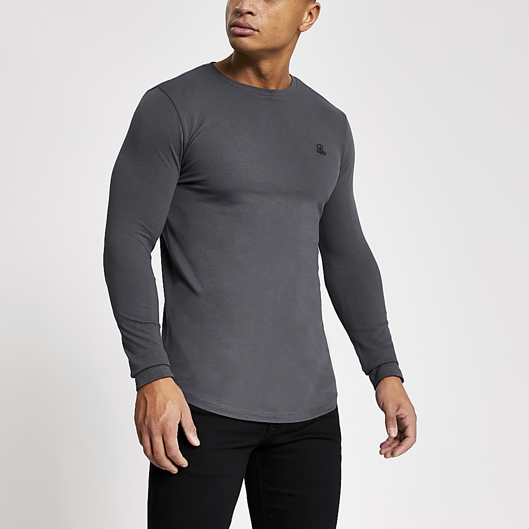 R96 grey muscle fit long sleeve pique T-shirt