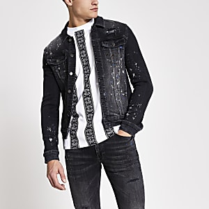 Smart Western muscle fit dark denim jacket