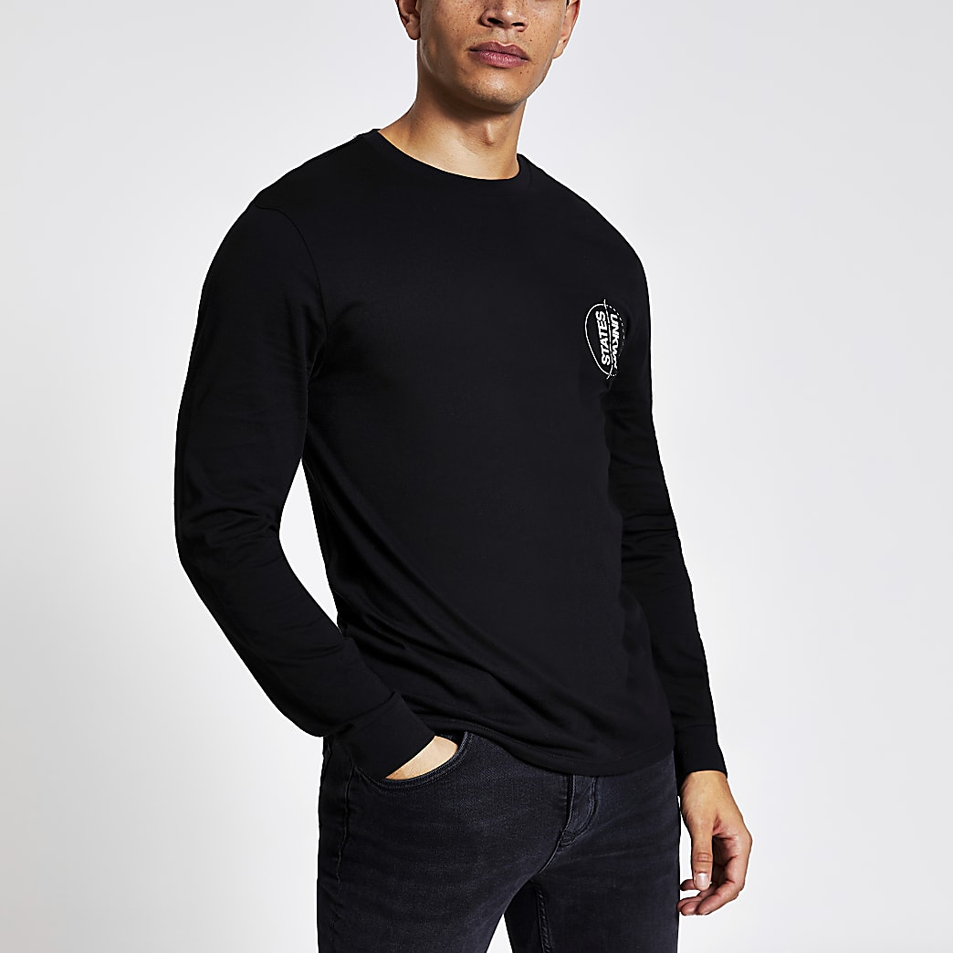 Black 'Unkwn' long sleeve slim fit T-shirt