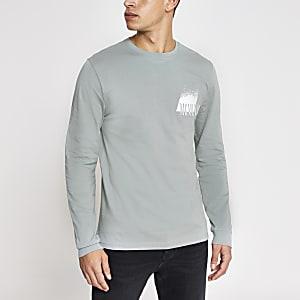 Grijs slim-fit T-shirt met lange mouwen en MCMLVXII-print
