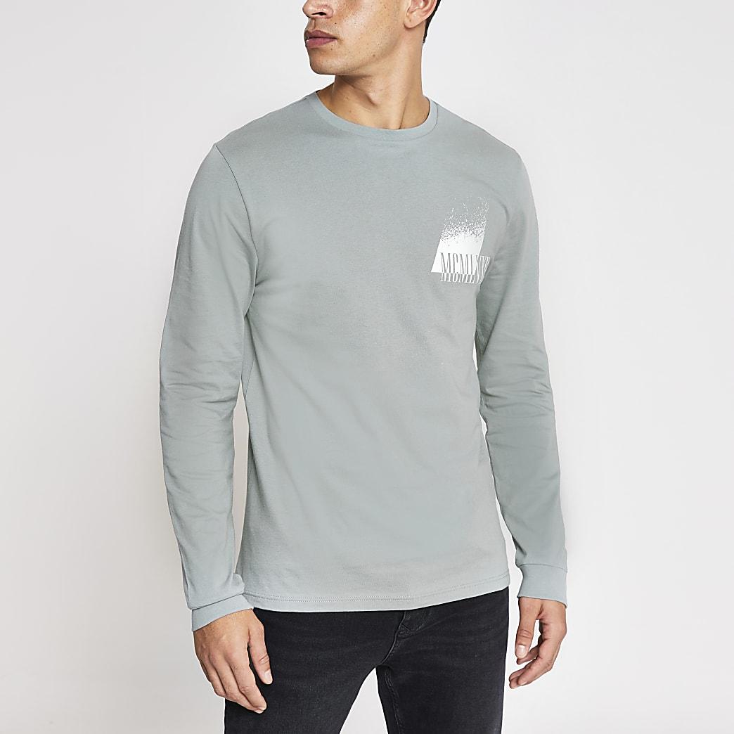 T-shirt slim gris MCMLVXII à manches longues