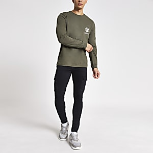 Langärmeliges, khakifarbenes T-Shirt im Slim Fit mit Print