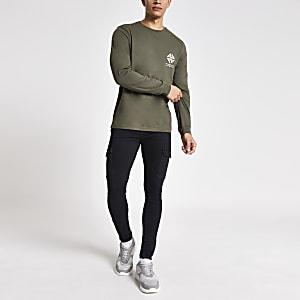 Kaki slim-fit T-shirt met lange mouwen en print