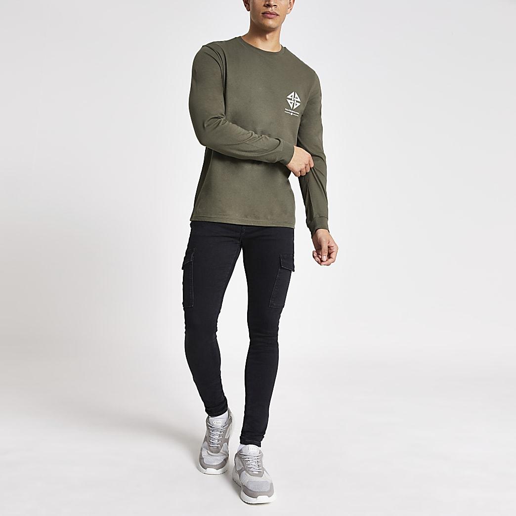 Khaki printed long sleeve slim fit T-shirt