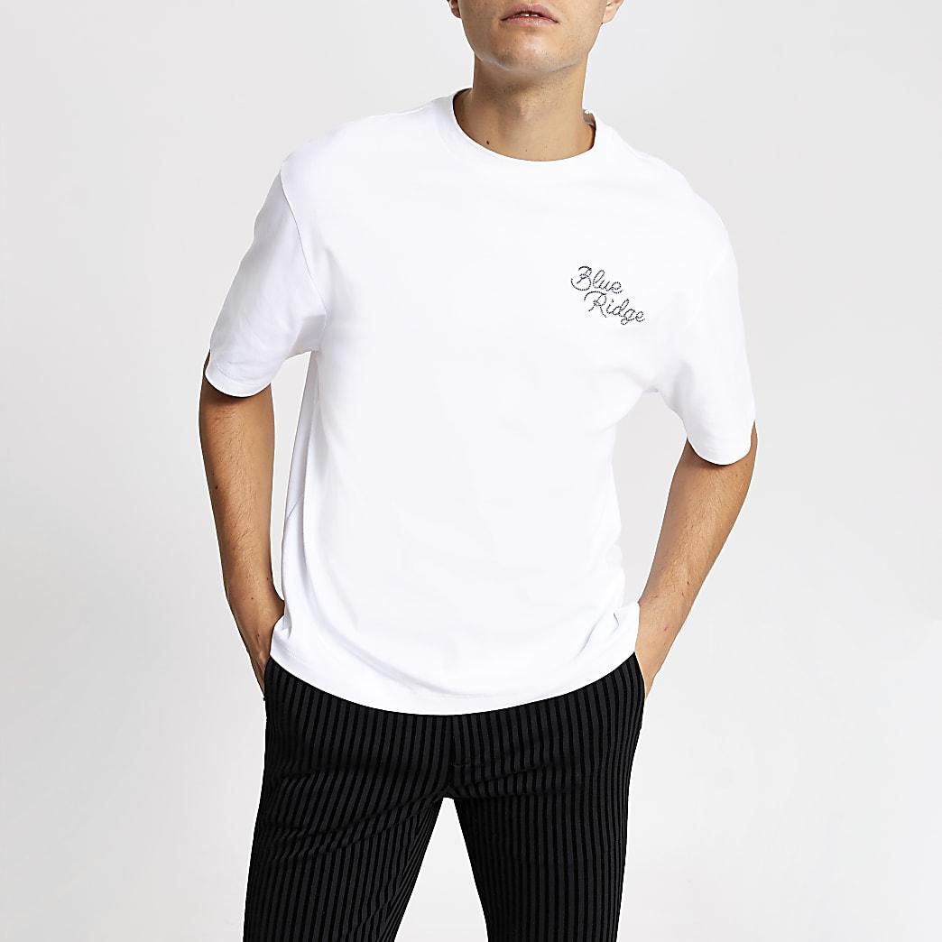 Smart Western –T-shirt blanc « Blue Ridge » ample