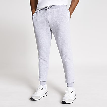 Grey 'Undefined' embroided slim fit joggers