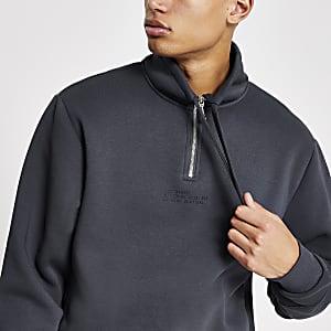 Blue prints – Sweatshirt mit Reißverschluss und Kragen
