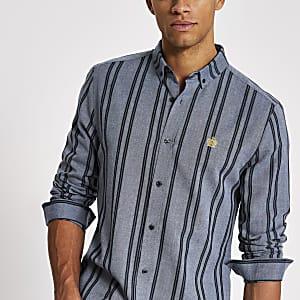 Blau gestreiftes Regular Fit Langarmhemd