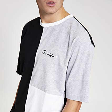 White Prolific colour block oversized T-shirt