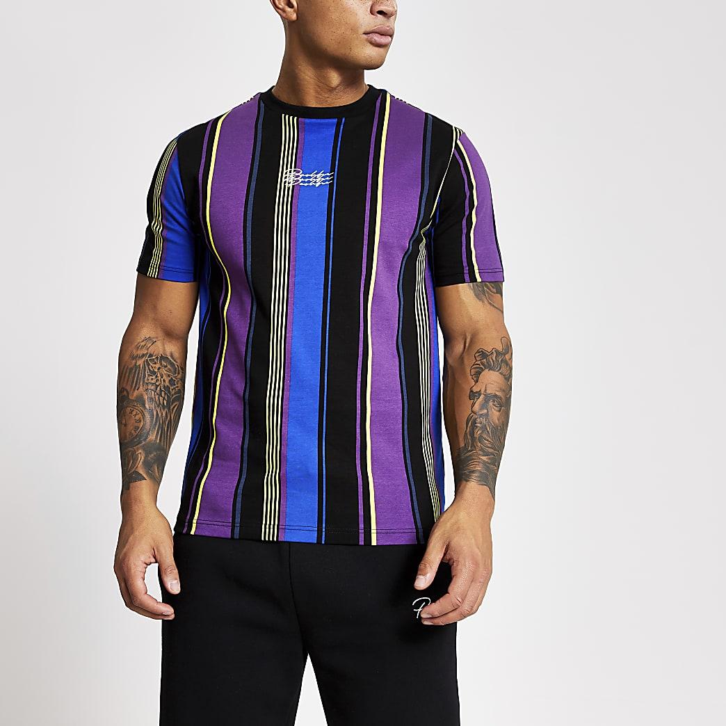 Prolific – T-shirt slim noirà rayures