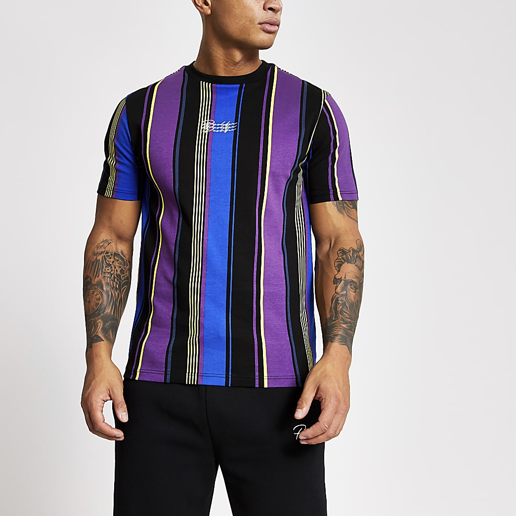 Prolific - Zwart gestreept slim-fit T-shirt