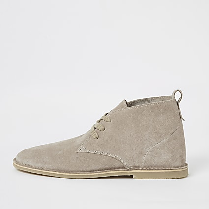 Ecru suede lace-up desert boots