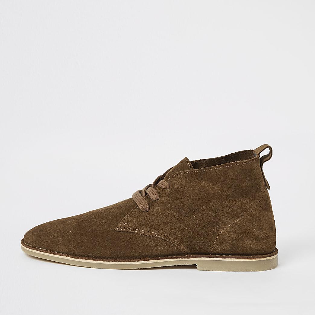 Bruine suède desert boots met vetersluiting