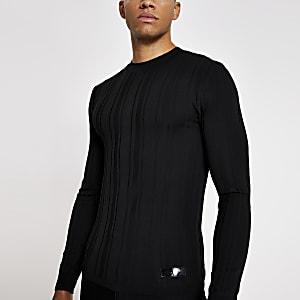 Zwarte gebreide muscle-fit trui met ribbels