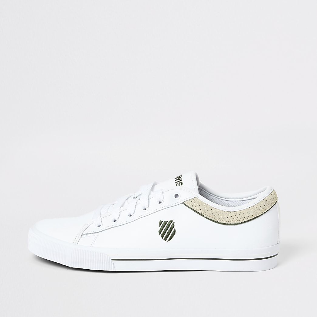 K-Swiss white leather suede trim trainers