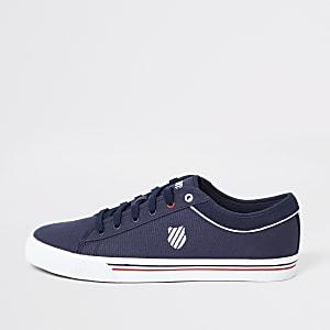 K-Swiss – Marineblaue Sneaker aus Segeltuch mit Schnürung