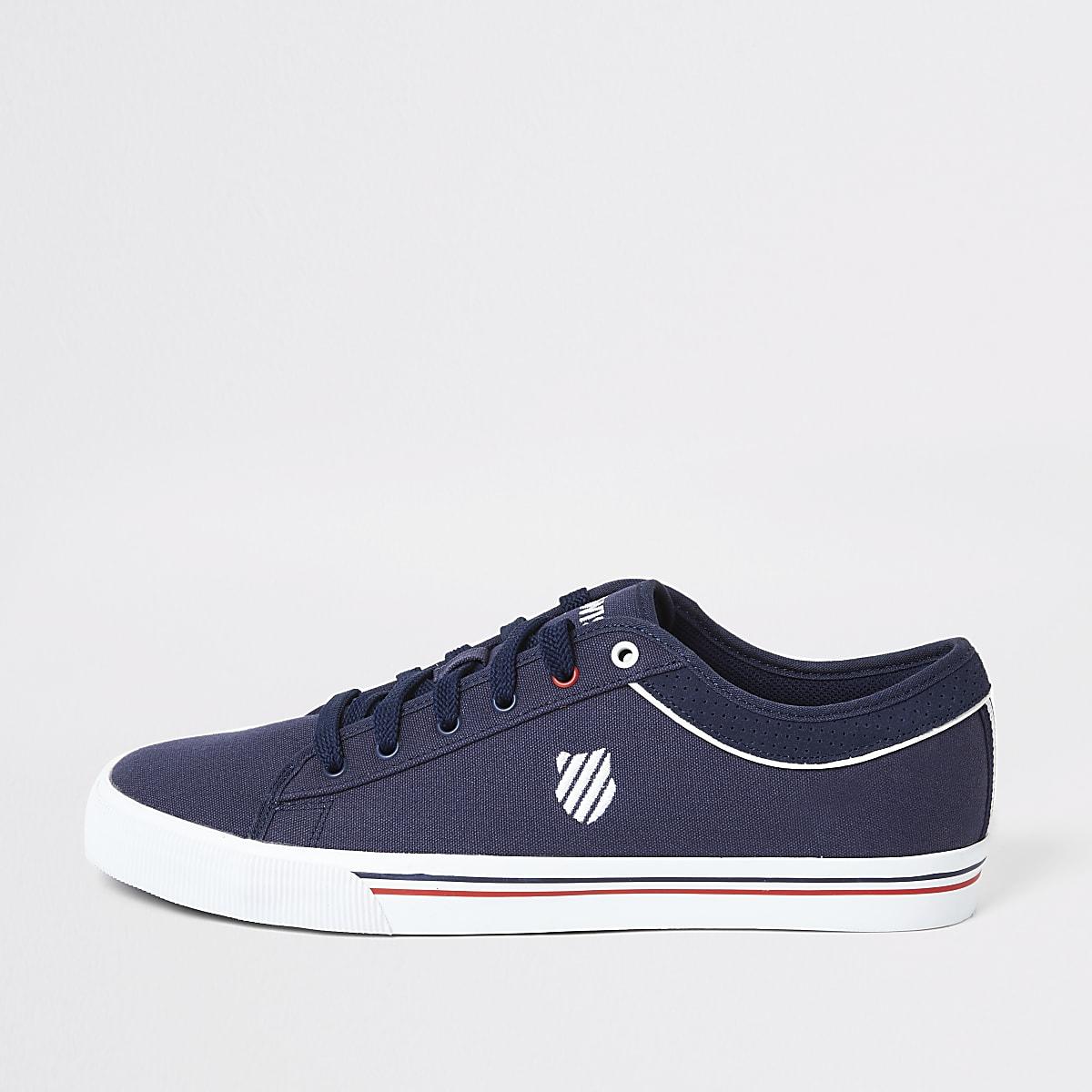 K-Swiss - Marineblauwe canvas sneakers met vetersluiting