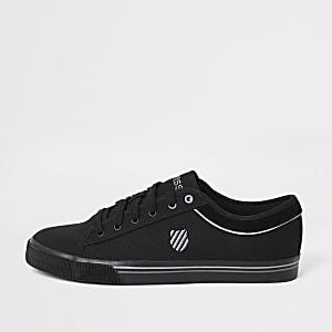 K-Swiss – Schwarze Sneaker aus Segeltuch mit Schnürung