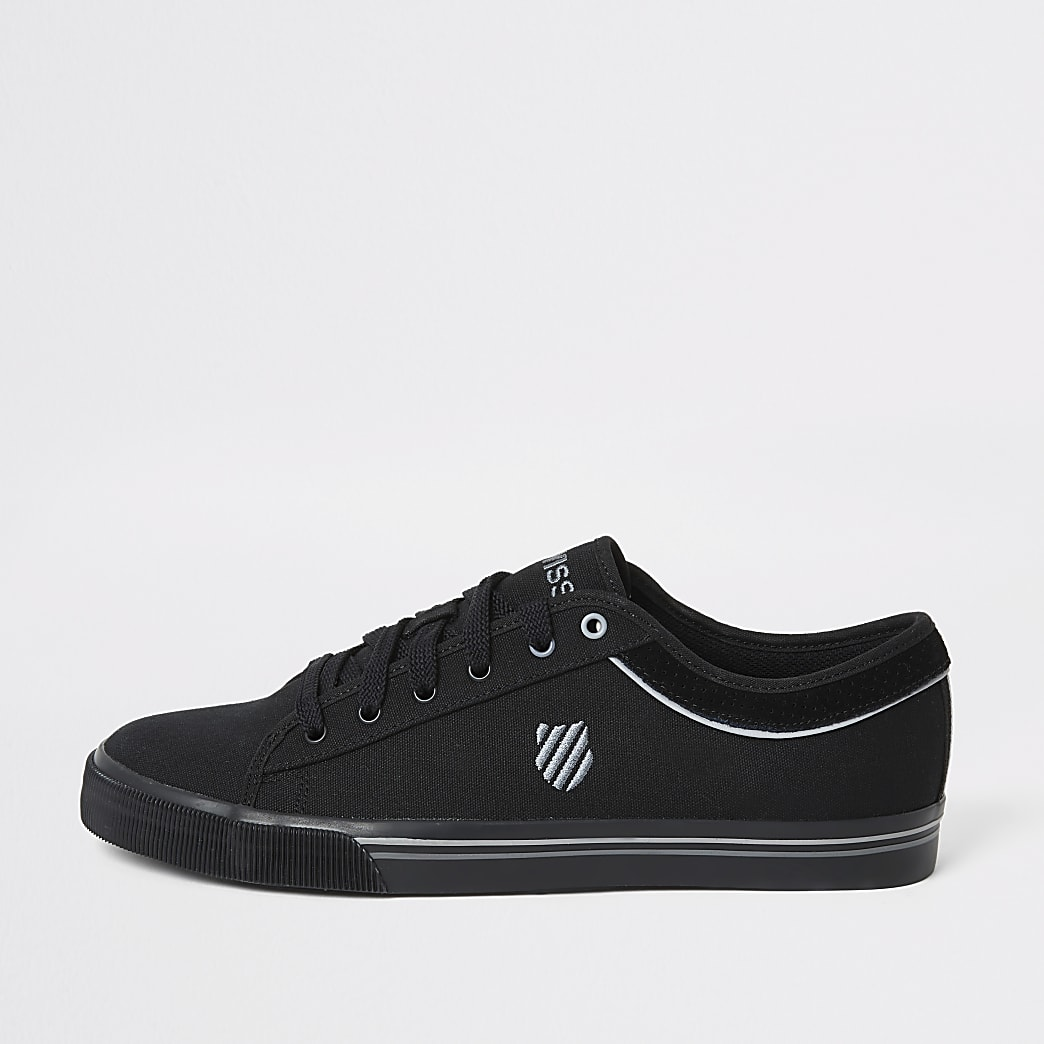 K-Swiss black canvas lace-up trainers