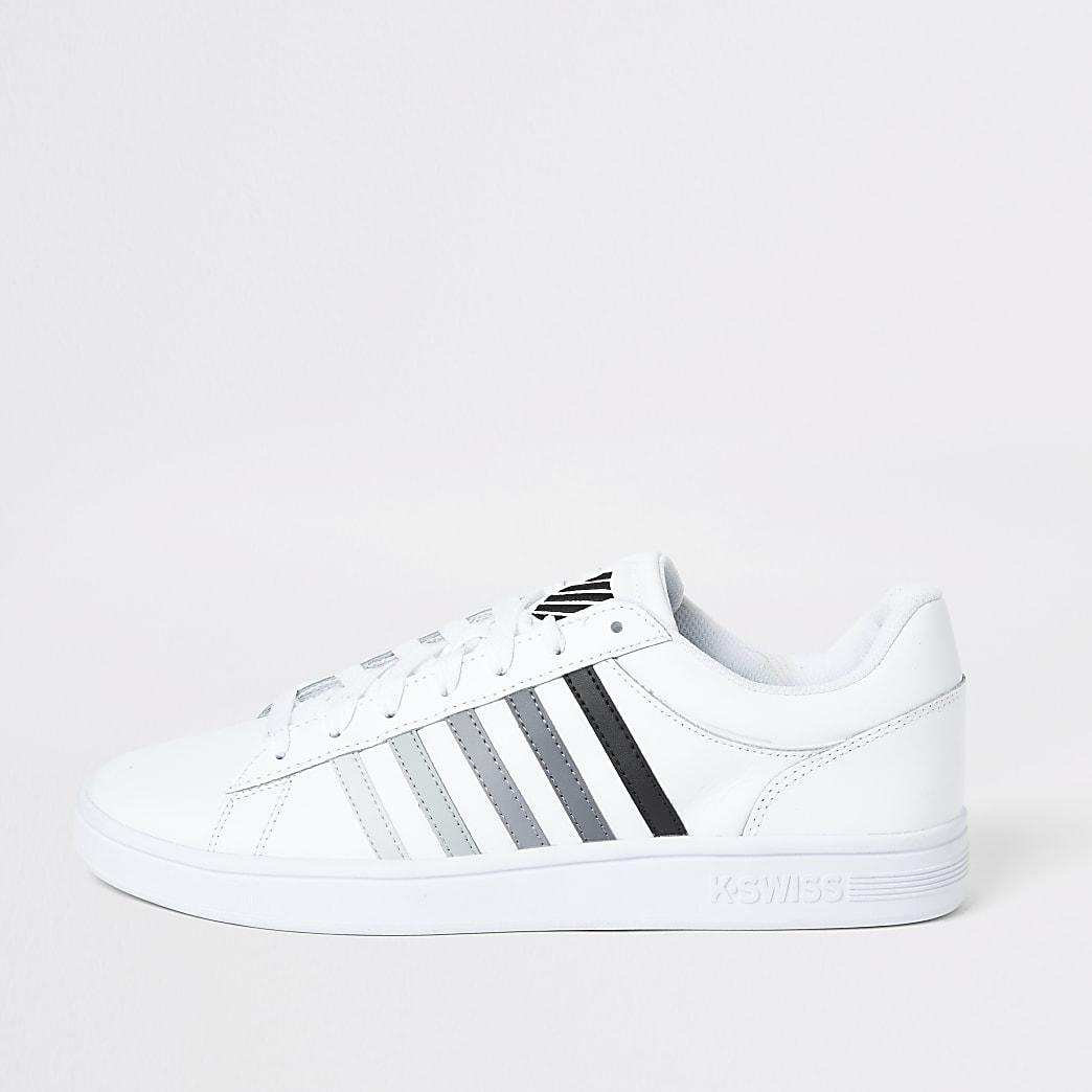 K-Swiss white leather grey stripe trainers