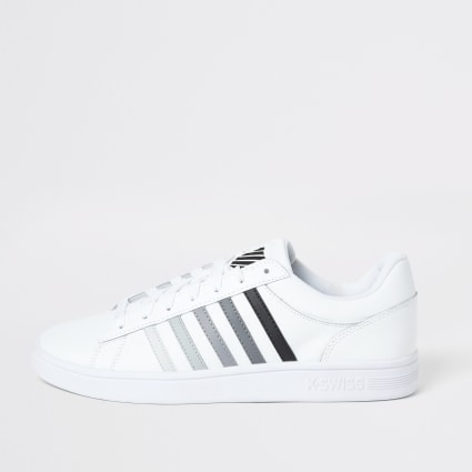 K-Swiss white leather grey stripe trainers