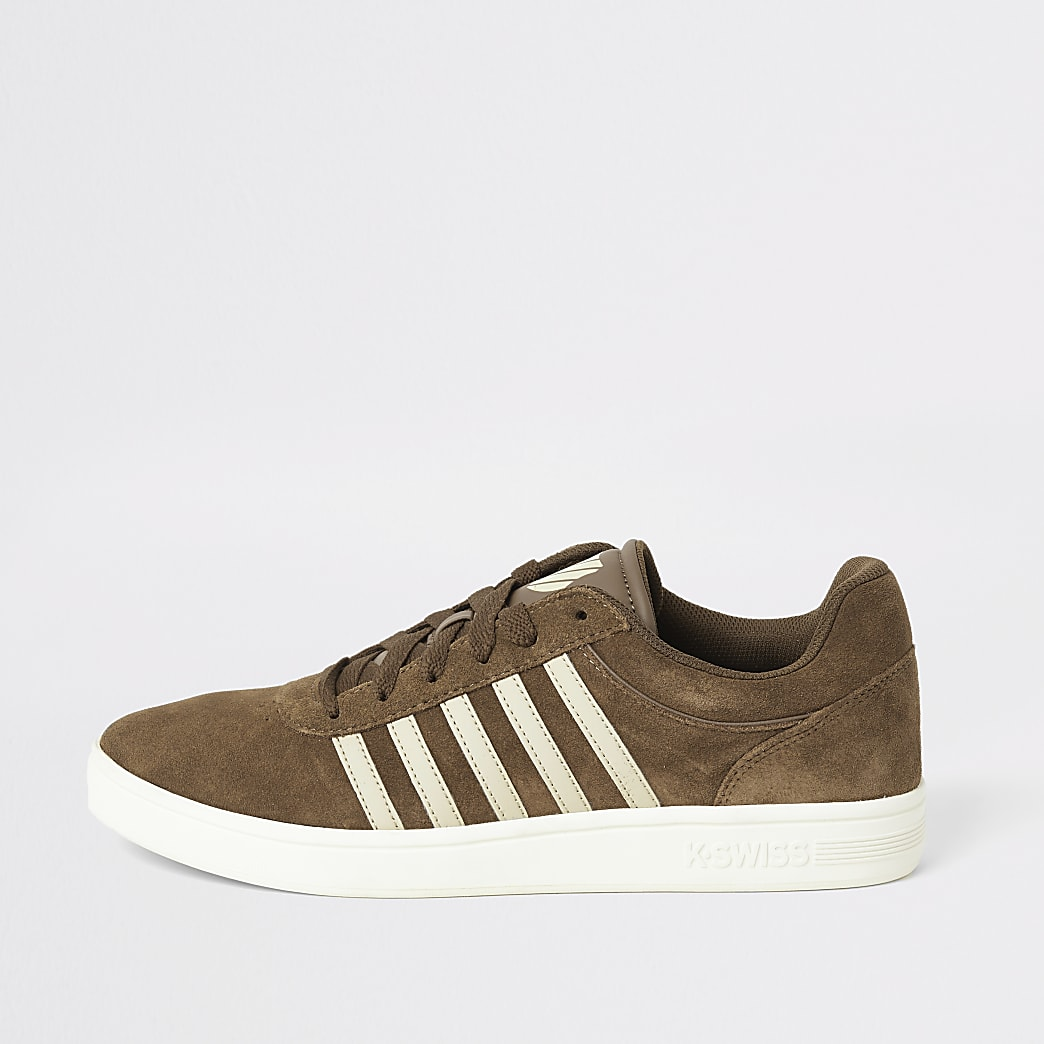 K-Swiss brown suede stripe side trainers