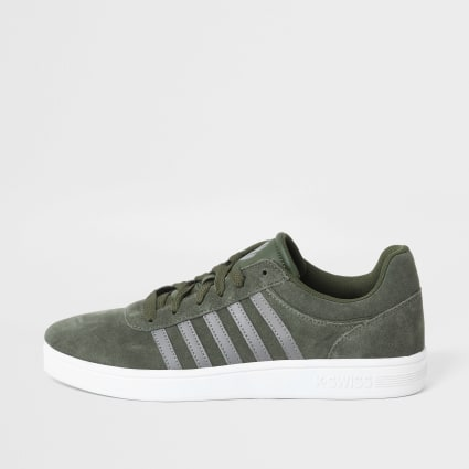 K-Swiss khaki suede stripe side trainers