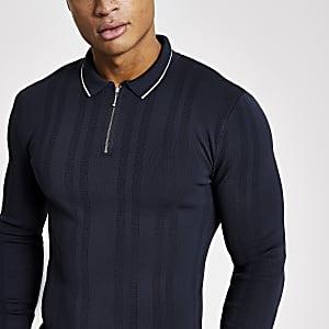 Marineblaues Muscle Fit Poloshirt aus Strick mit kurzem Reißverschluss